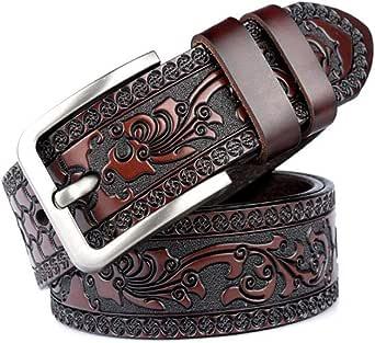 Correa de cuero negro de la flor de la impresión del café Pin hebilla Jeans hombres cinturón