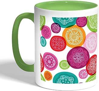 Motifs Circles Printed Coffee Mug, Green Color