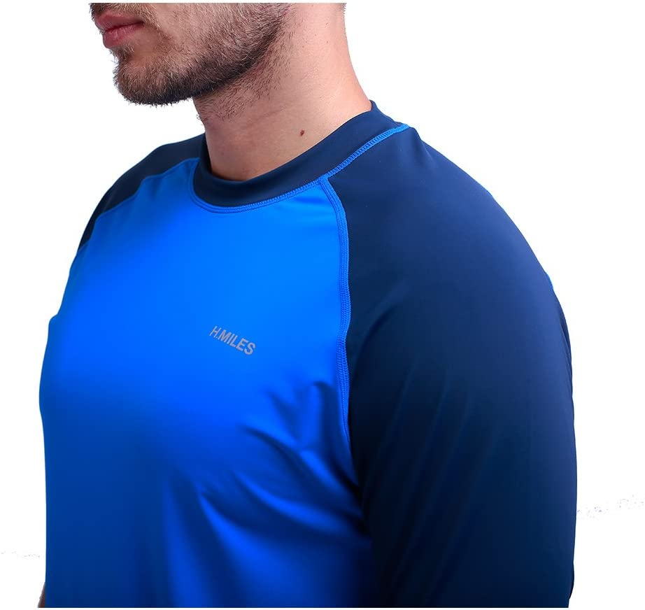 H.MILES Mens Rash Vest Short Sleeve Male Adults Rashguard Swim Base Layer Snorkeling Swimming Surfing Tops Diving Beach T-shirt