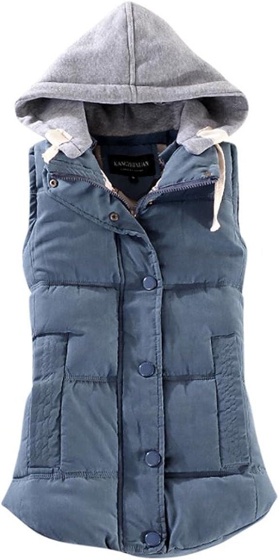 Moonuy Damen Winterweste, Frauen Weste Weibliche Warme Ärmellose Jacke Baumwolle Solide Mit Kapuze Oansatz Weste für Oberbekleidung Stilvolle Kleidung
