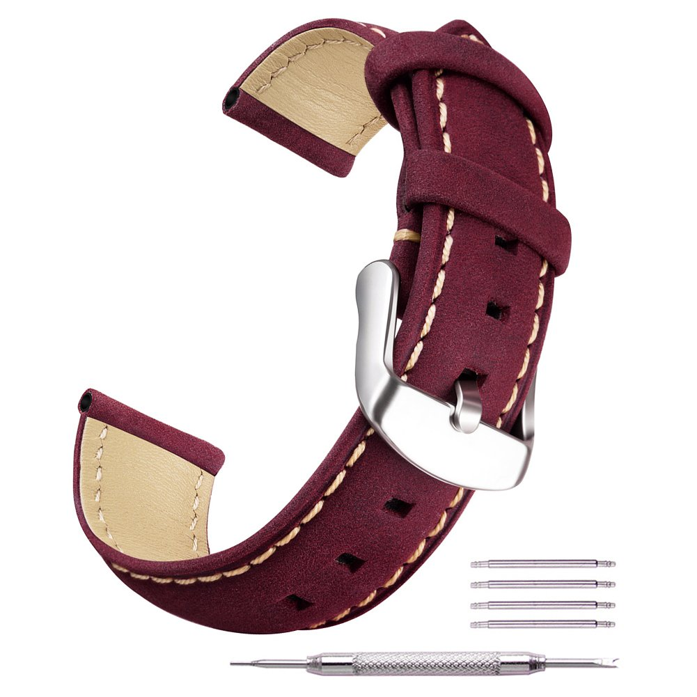 Ritche本革時計バンド交換ストラップ16 mm 18 mm 20 mm 22 mm 24 mmの男性と女性  パープル 16mm B076JC9PQS