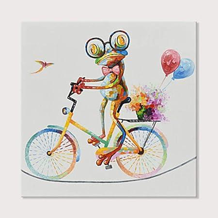 YHXIAOBAOZI Pinturas Al Pintura Al Óleo Pintado A Mano Rana Dando Un Agradable Paseo En Bicicleta En Lienzos De Animalitos Tamaño Grande Moderna Decoración Ilustraciones De Pared Cuadrados para Entra: Amazon.es: Hogar