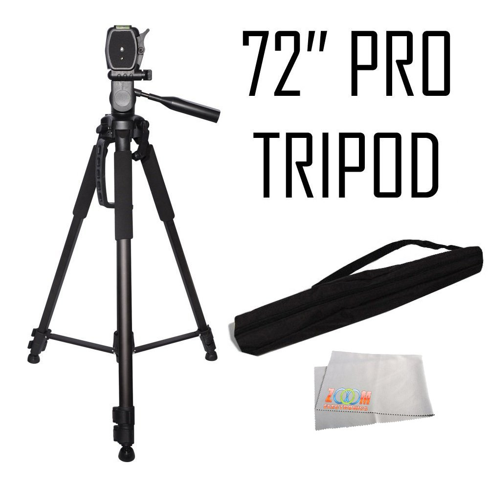 Professional 72-inch Tripod 3-way Panhead Tilt Motion with Built In Bubble Leveling for Sony NEX-5, A65, A77,A77ii, A99, A65, A35, A55, A57, A58, A33,A37, A380, NEX-5, Nex5tl, NEX-6, NEX-7, A230, A390, A380, A500, A280, A290, A330 Digital SLR Cameras