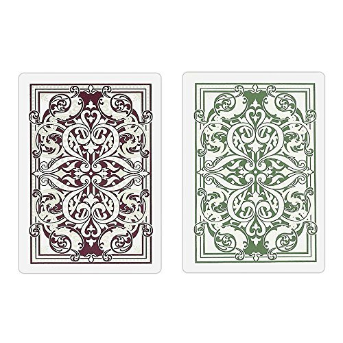 Kem Jacquard Burgundy/green Cards Poker Size Reg Index by Kem Playing Cards