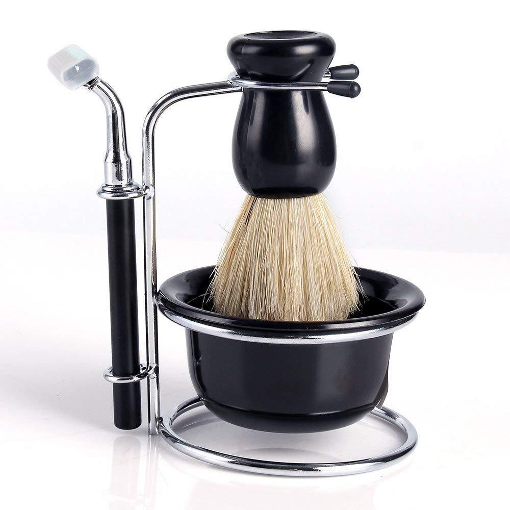 Shaving Brushes Set, NEVERLAND Professional Badger Hair Beard Cleaning Shave, Razor, Black Bowl, Stainless Steel Stand Holder for Men Neverland Beauty & Health