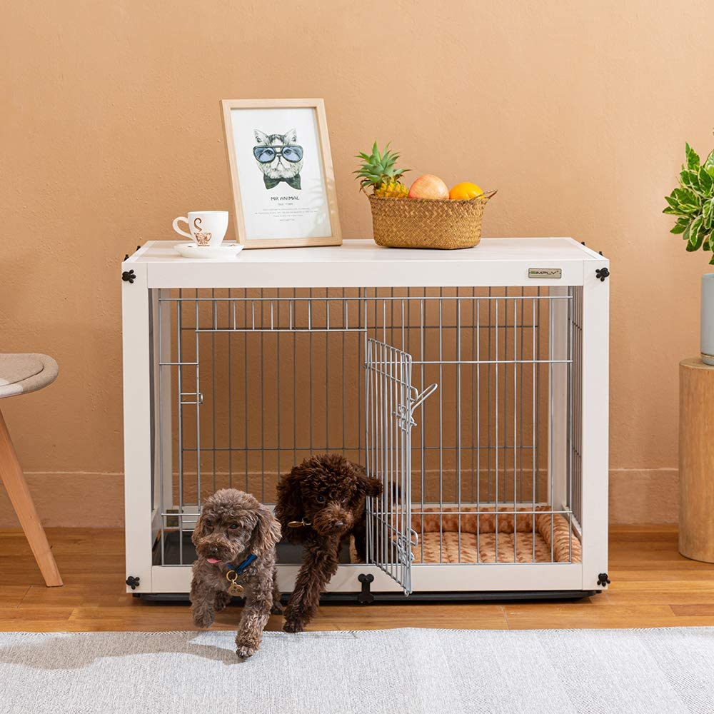 Simply Plus Dog Crate with Slide Tray Detachable Cage Cover,White Furniture Style Wooden Wire Indoor Pet Crate End Table