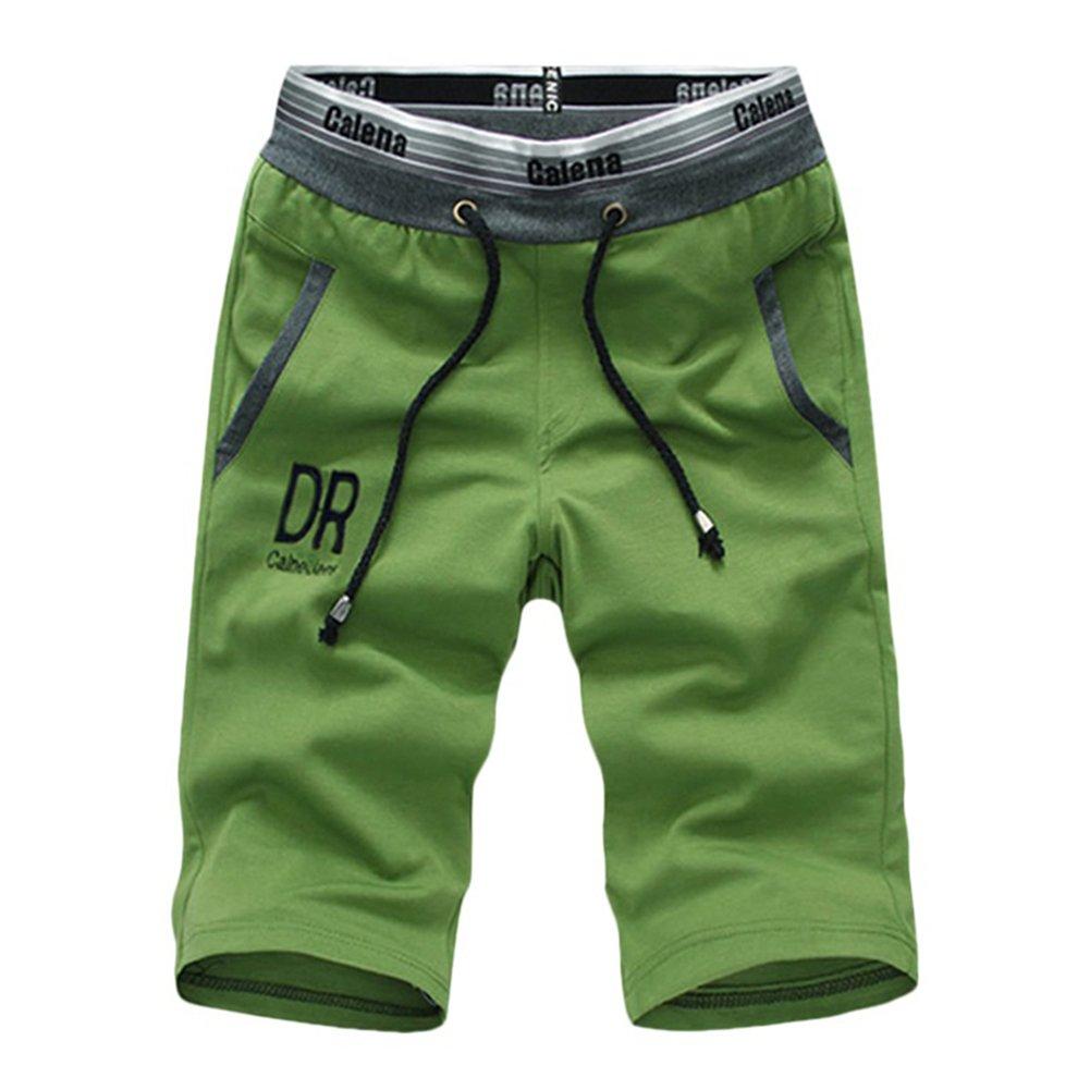 TOLOER Men's Casual Elastic Waist Classic Fit Summer Beach Shorts Green XL