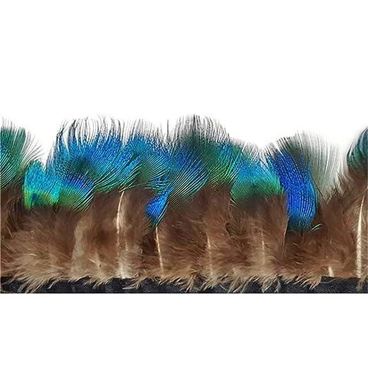 SHFives 10 Metros de Plumas de Pavo Real Natural con Flecos 5-6 cm ...