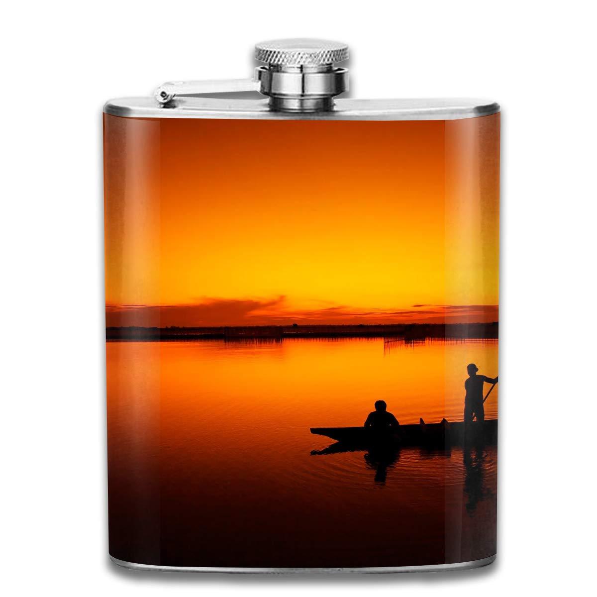 【ふるさと割】 Laki-co ブラック 日没釣りボート ヒップフラスコ 酒用 酒用 ステンレススチールボトル アルコール7オンス One Size ブラック B07L8SVJPR Flask-L1X-10891245 One Size グレー B07L8SVJPR, インテリアポピー:d064d2c8 --- a0267596.xsph.ru