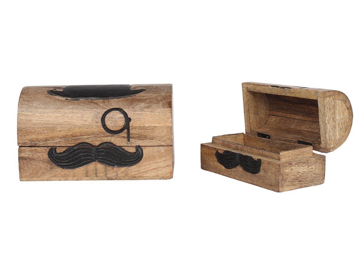 storeindya, Handmade Wooden Jewelry Box - Keepsake Box - Storage Organizer Multipurpose Box - Treasure Chest - Trinket Holder for Women Men Girls (Mustache Collection) by storeindya (Image #2)