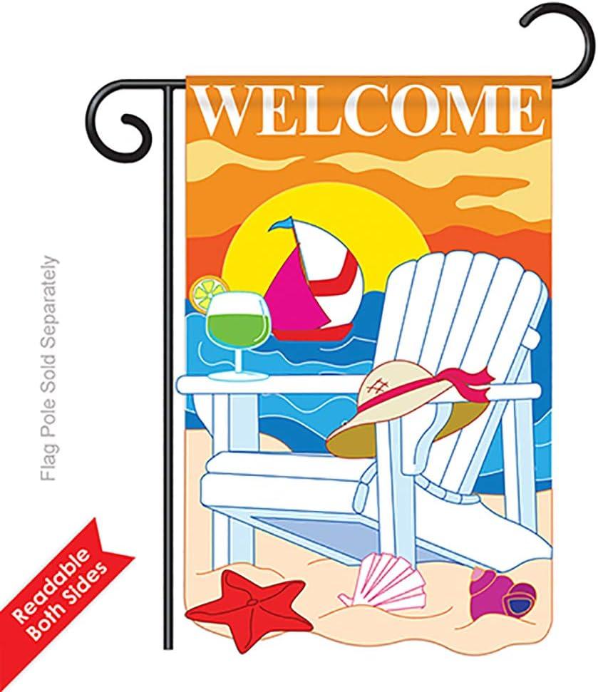 Breeze Decor Two Group G156037 P2 Seaside Summer Fun In The Sun Applique Decorative Vertical 13 X 18 5 Double Sided Garden Flag Garden Outdoor
