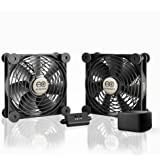 AC Infinity MULTIFAN S7-P, Quiet Dual 120mm AC-Powered Fan with Speed Control, for Receiver DVR Playstation Xbox…