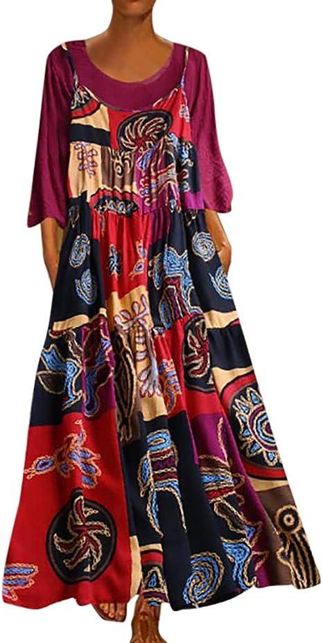 PGM 2019 Women/'s Fashion Vintage Red Floral Print Pleated Shirt Dress Plus Size