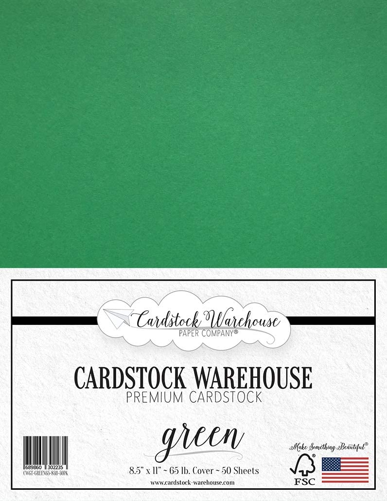 Green Cardstock Paper - 8.5 x 11 inch - 65 lb. - 50 Sheets 100% Recycled Cover from Cardstock Warehouse