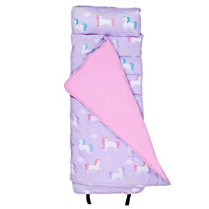 Wildkin Original Nap Mat, Features Built-in Blanket and Pillow, Perfect for Daycare and Preschool or Napping On-The-Go, Olive Kids Design – Unicorn