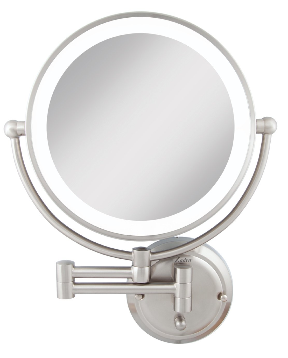 Zadro Light Dimmable Dual-sided Glamour Wall Mount Mirror, Satin Nickel