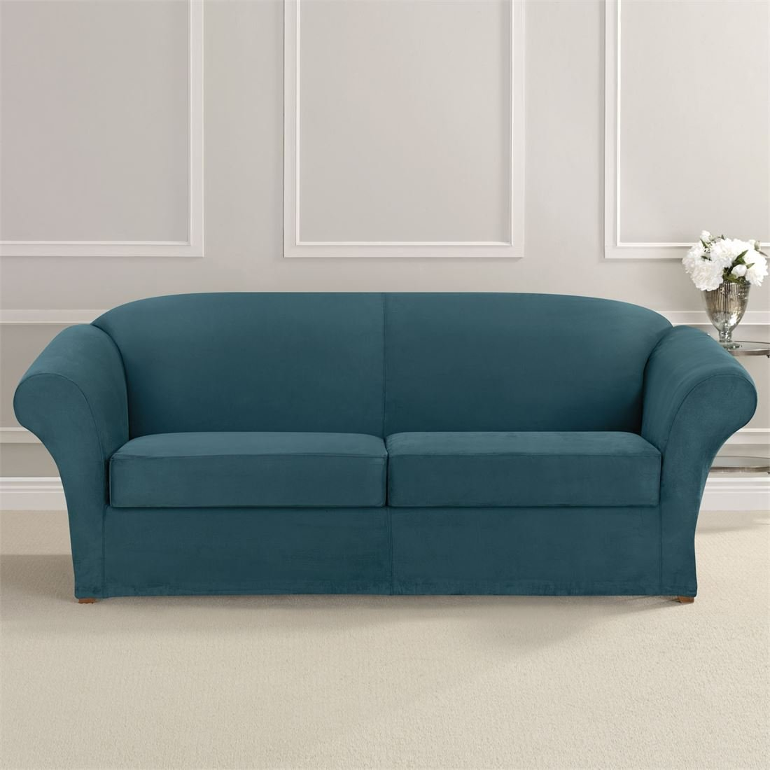 Brylanehome Ultimate Stretch Faux Suede 2-Seat Sofa Cushion Slipcover (Peacock Blue,0)