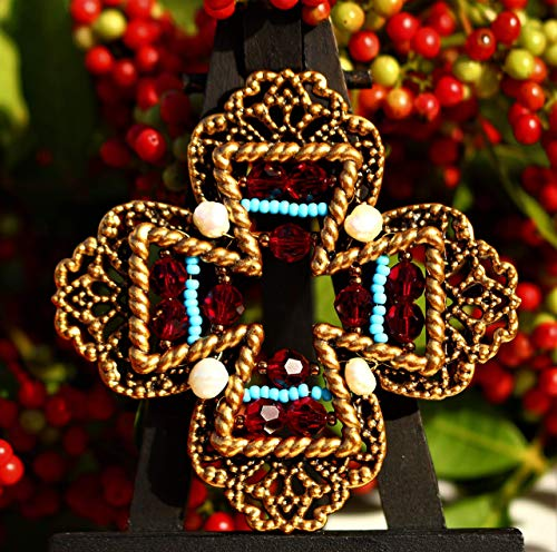 (Maltese cross antiqued gold plated filigree embellished with Swarovski red crystal beads and genuine pearl beads glass seeds BROOCH by Inga Engele 66mm x 66mm made in USA)