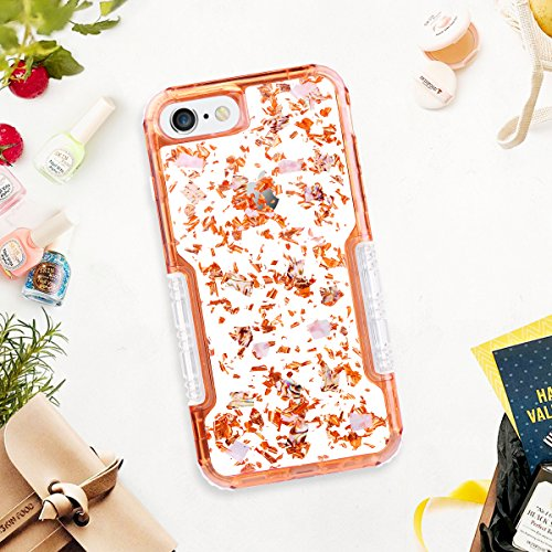 iPhone 6s Plus Case, HianDier Clear Glitter iPhone 6/6s Plus Protective Gel Case Pearl Foil Embedded Cute Case Shock Absorption Bumper Soft TPU Cover Case for iPhone 6 Plus & 6s Plus - Rose Gold by HianDier (Image #5)