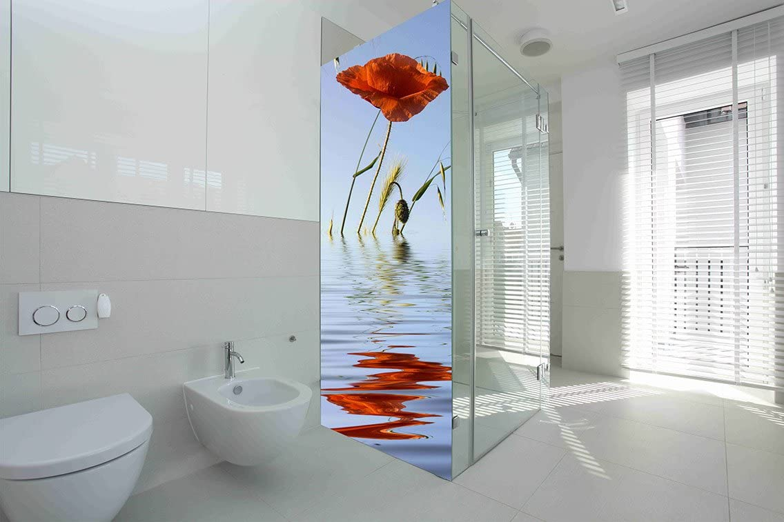Vinilo para Mamparas baños Amapola en Agua |Varias Medidas 185x70cm | Adhesivo Resistente y de Facil Aplicación | Pegatina Adhesiva Decorativa de Diseño Elegante|: Amazon.es: Hogar