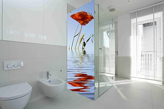 Vinilo para Mamparas baños Amapola en Agua  Varias Medidas 185x70cm   Adhesivo Resistente y de Facil Aplicación   Pegatina Adhesiva Decorativa de Diseño Elegante : Amazon.es: Hogar