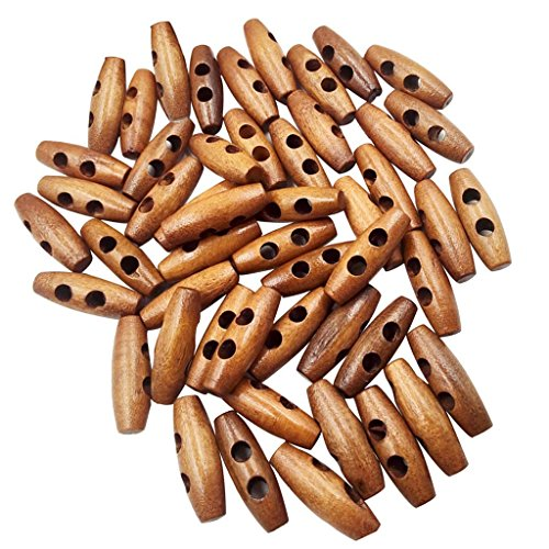 TOOGOO 50 Pieces Olive Shape Wooden Toggles Buttons 2 Holes Sewing Buttons for Clothes Decor
