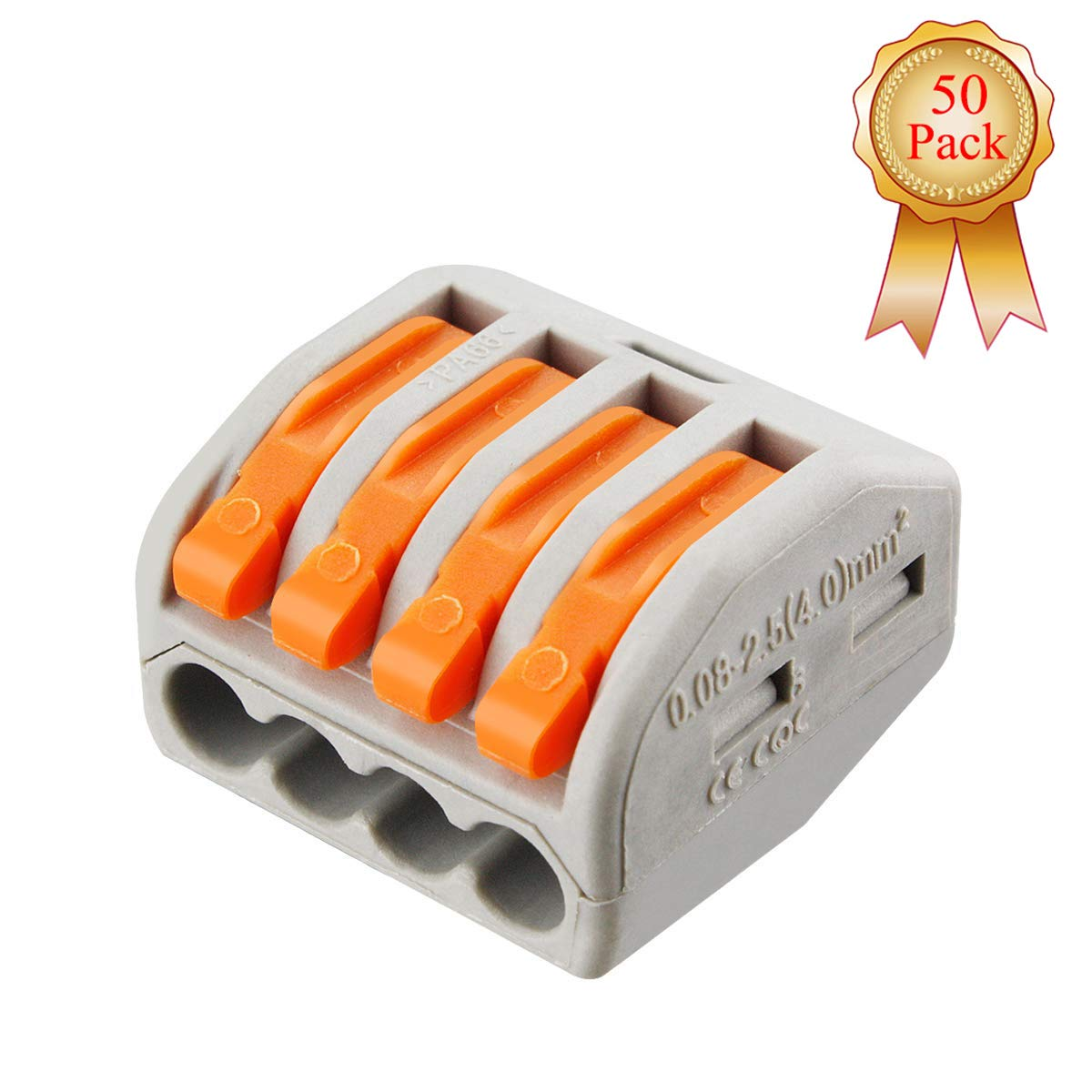 Kalolary Lever-Nut Wire Connector-50Pack 4 Port PCT-214 Assortment Conductor Compact Wire Connectors Terminal Block Wire Push Cable Connector