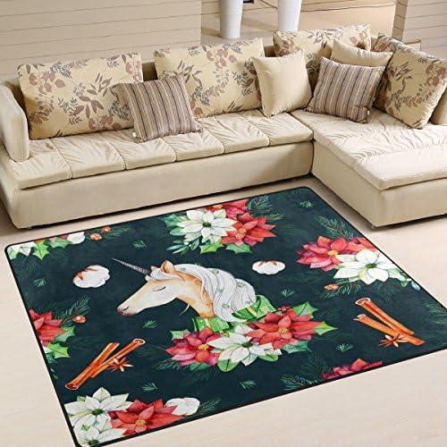 ALAZA Retro Christmas Flower Unicorn Area Rug Rugs for Living Room Bedroom 7 x 5