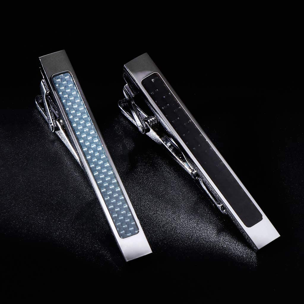 JERKKY 2Pieces//Set Tie Clip Men Ties Carbon Fiber Exquisite Classic Fashion Jewelry Charms Businessman Necktie Fitting Pins Clasp Shirt High End Accessories