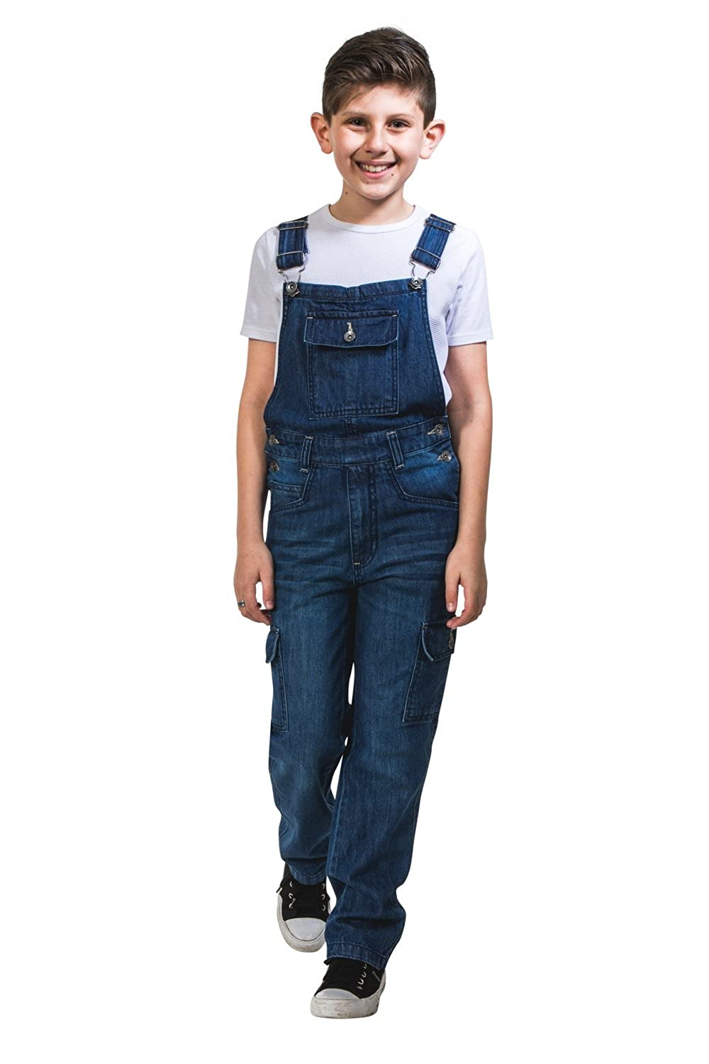 Uskees Kids Darkwash Denim Dungarees Age 4-14 Childrens Cargo Pocket Overalls BENJAMINDW