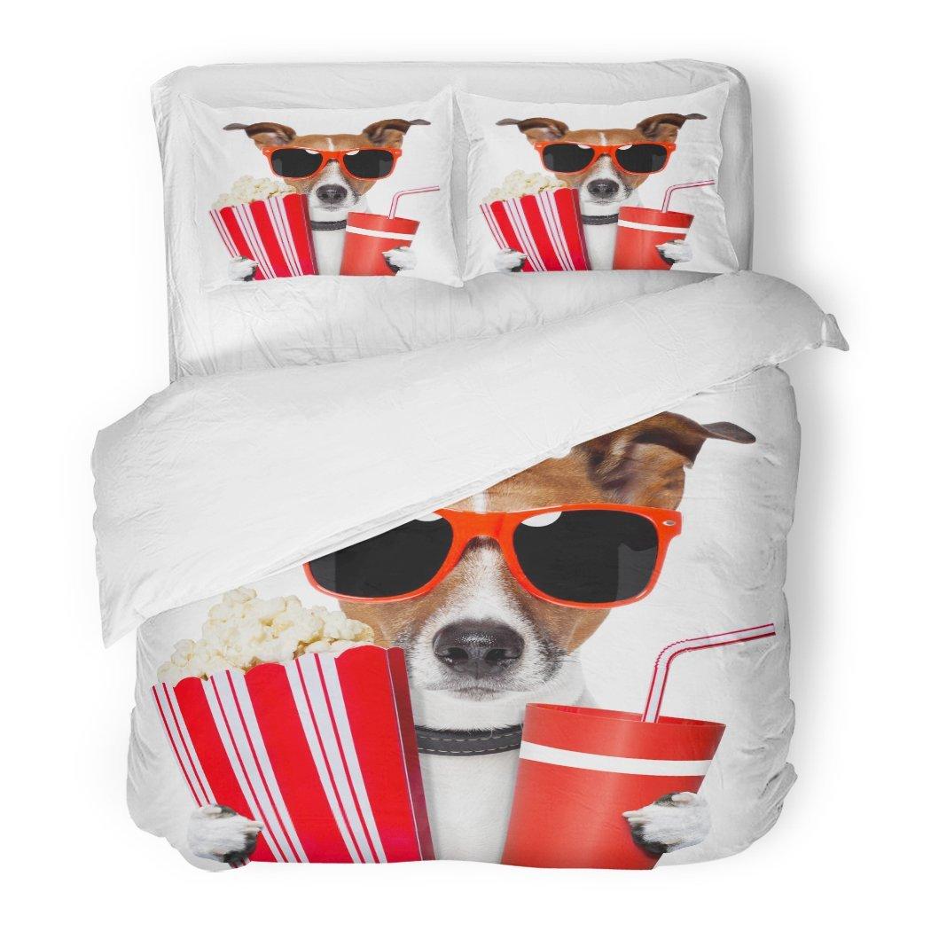SanChic Duvet Cover Set Red Funny Dog Watching Movie Animal Fun Pet Popcorn Food Decorative Bedding Set Pillow Sham Twin Size