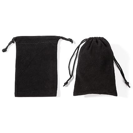 CLE DE TOUS - 50pcs 10x13cm Bolsa de Organza Bolsitas de terciopelo Negra para regalo Joyería pendientes pulsera colgante anillo