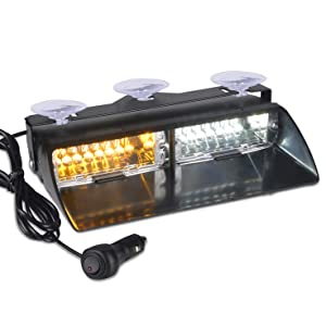 12V Law Enforcement Emergency Car Strobe Lights, 16 LED Hazard Warning Beacon Lights for Vehicle Interior Roof/Dashboard/Visor/Front Windshield with Suction Cup (Amber&White)
