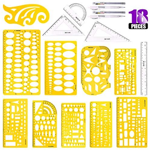 (Swpeet 18Pcs Plastic Yellow Geometric Drawings Templates Kit, 10 Different Geometric Measuring Drawings Templates Stencils with 2Pcs Pencil and 5Pcs Measuring Ruler for Drawing Engineering Drafting)