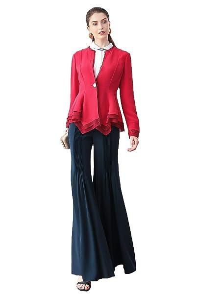 Amazon.com: VOA Red Blazer W313 - Chaqueta para mujer, manga ...