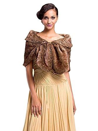 Gracewedding Brown Bridal Faux Fur Cape Shrugs -Brown Faux Fur Stole