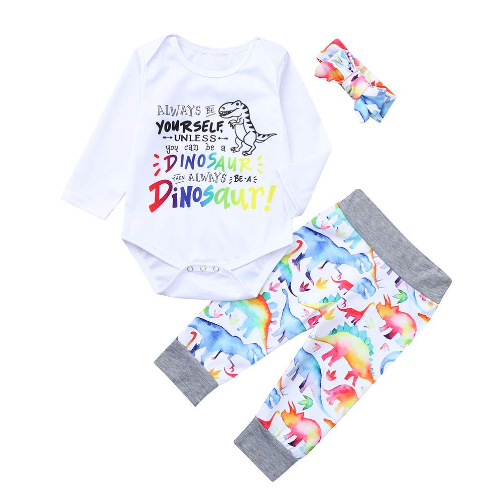 Baby Boy Girl Long Sleeve Clothing Set Always BE Yourself Letter Dinosaur Print Cotton Romper+Cute Pant+Headbands