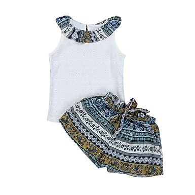 eb89fdc287a72 Amlaiworld ❤️Ensembles de Bébé Filles Enfants Bébé Filles Vêtements de Tenue  d'été Falbala T-Shirt Tops + Short Pants Ensemble pour Enfant Fille 1-6  Ans: ...