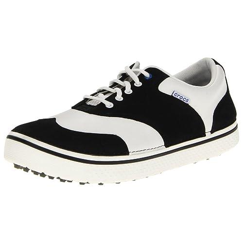 Crocs - Zapatos de golf para hombres sin tacos modelo Preston - 39 Ancho especial, Negro / Blanco: Amazon.es: Zapatos y complementos