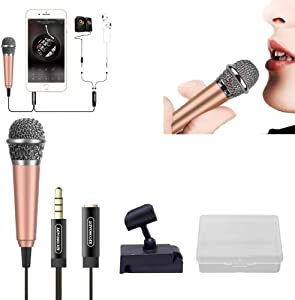 XGPA Mini Microphone Portable Vocal/Instrument Microphone for Mobile Phone Laptop Notebook Apple iPhone Samsung Android-Free Microphone Stand and Box(Rose Gold)