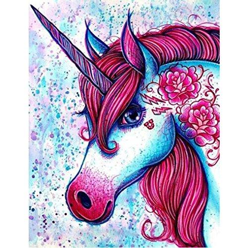 LovetheFamily 数字油絵 数字キット塗り絵 手塗り DIY絵 デジタル油絵 赤い牡丹とユニコーン 40x50cm ホーム オフィス装飾