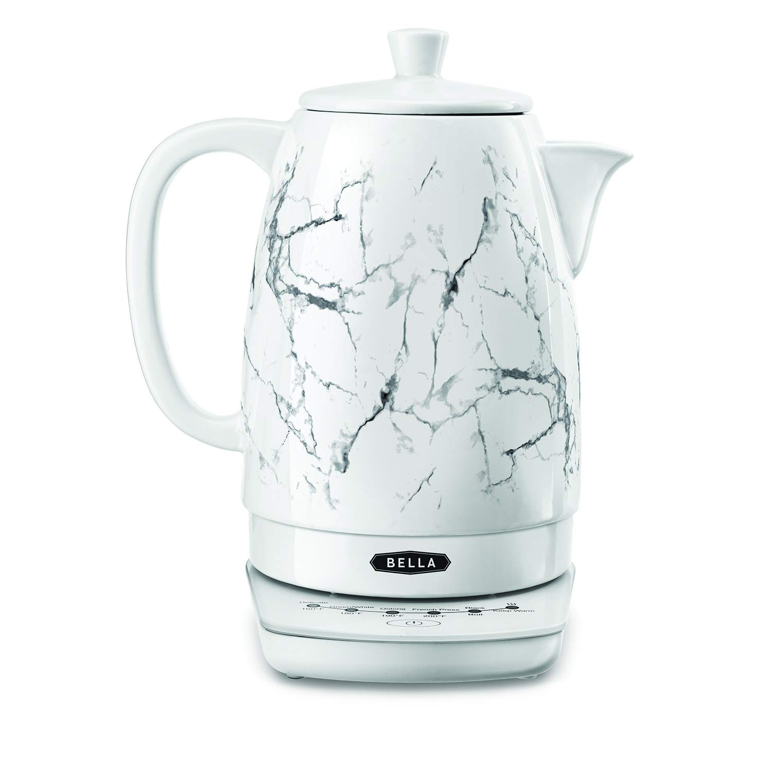 BELLA (14762) 1.8 Liter Temperature Control Electric Ceramic Kettle with Digital Touch Interface, Automatic Shut Off & Detatchable Swivel Base, White Marble