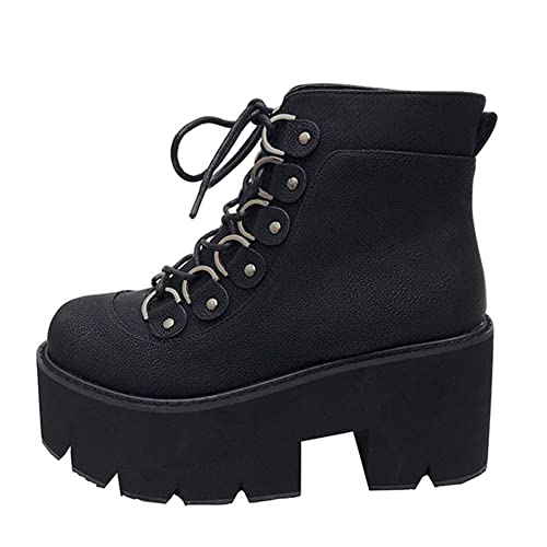 d7b2cbcd21d62 Amazon.com | Womens Square Heel Thicl Bottom Platform Ankle Boots ...