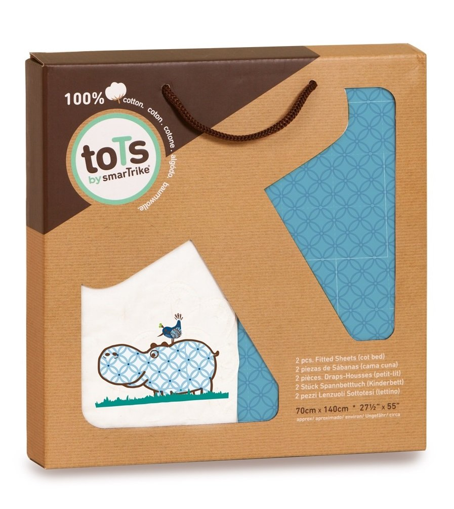 toTs 2 Piece Fitted Sheets Rabbits Green