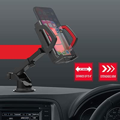Premier Phone Holder Car Magnetic Grip Qi Wireless Charging Pad Extendable Dash Mount Dashboard Windshield Mounting Cellphone Clamp for Apple iPhones/Android Smartphone, Blue Red Black : Sports & Outdoors