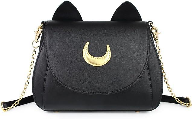 Cat Moon Luna Cartoon Handbag Purse Womens Gothic Goth Horror Crossbody Black