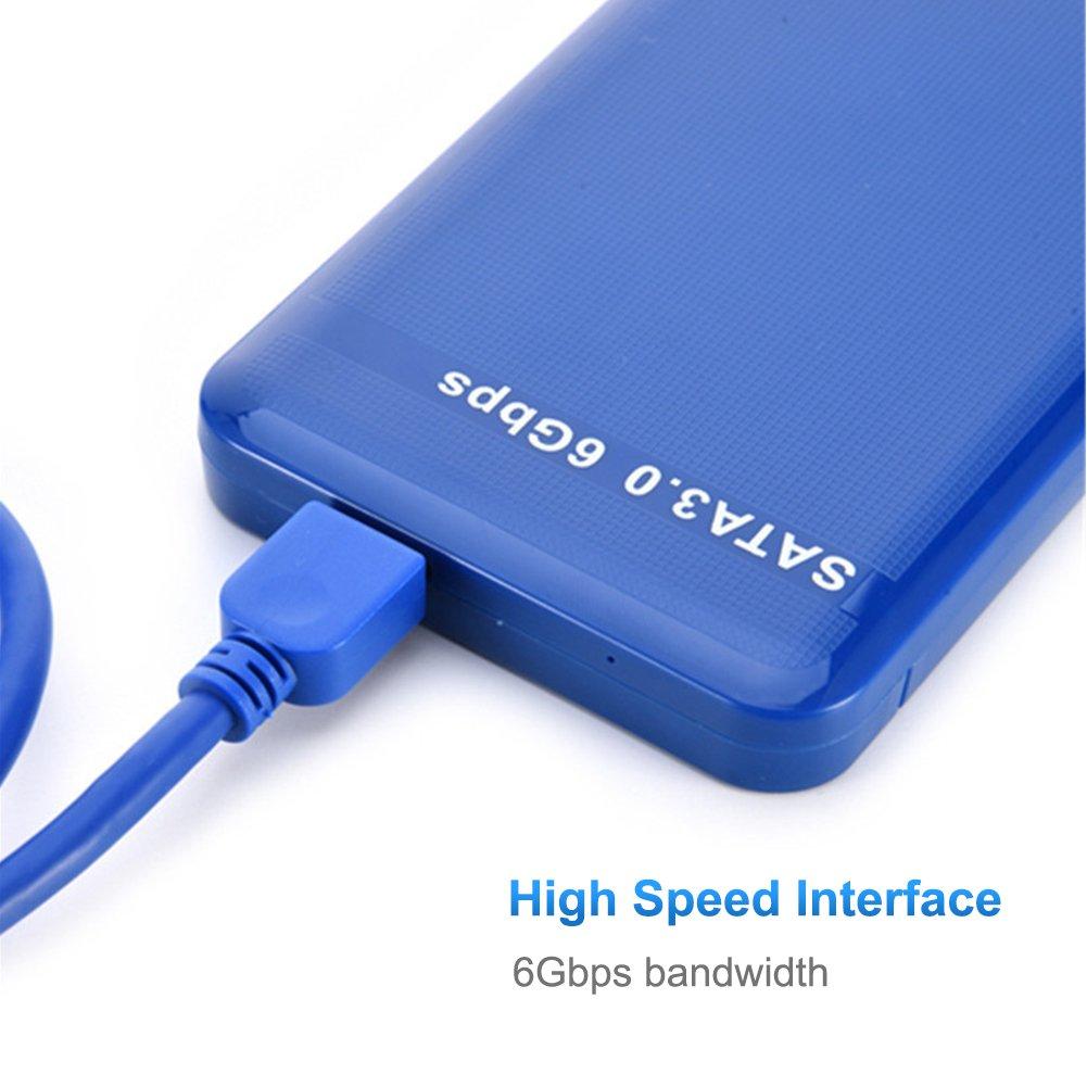 3 TB Blanco M/áx 7 mm a 9,5 mm Yuanline USB 3.0 Caja Externa Protocolo UASP para Disco Duro Externo SATA HDD SATA de 2,5