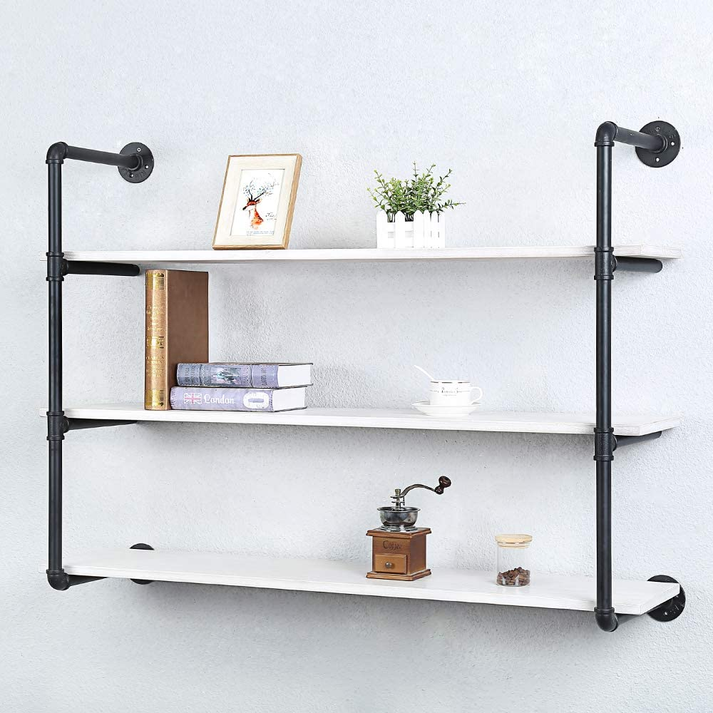 Industrial Pipe Shelving Wall Mounted,Rustic Metal Floating Shelves,Steampunk Real Wood Book Shelves,Wall Shelf Unit Bookshelf Hanging Wall Shelves,Farmhouse Kitchen Bar Shelving(3 Tier,48in)