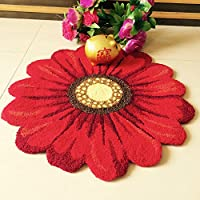 yazi Handmade Needlepoint Sunflower Acrylic Area Rugs Bedroom Home Decoration Indoor and Outdoor Welcome Rugs 25 by 25 Inch Mothers Day Gift