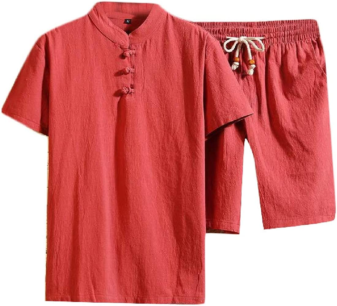 Lutratocro Mens Cotton Linen Short Sleeve Chinese Style Shirt and Shorts Outfit Sets